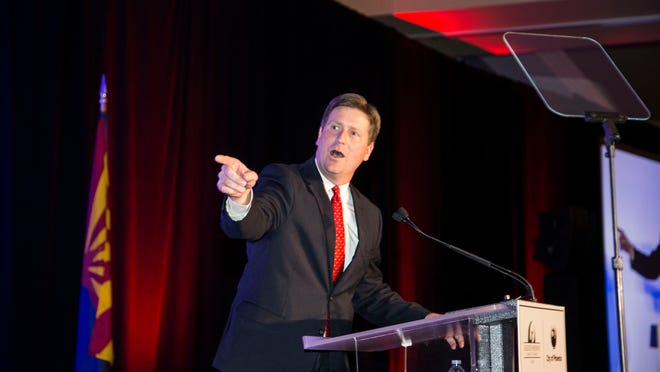 """Phoenix Mayor Greg Stanton delivers his fourth """"State of the City"""" speech focuses on transportation and a proposed tax increase that would fund street repairs, light-rail expansion and more bus service on April 8, 2015."""