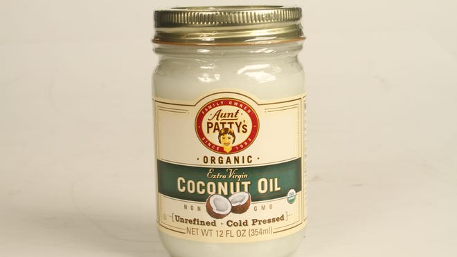 Aunt Patty's extra virgin unrefined cold pressed coconut oil is $7.95 for a 12-ounce jar at Rafns' Local Grocery and Deli.