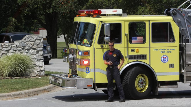 A fire truck blocks the entrance to the U.S. Medical Center for Federal Prisoners around 11:30 a.m. on Tuesday, June 21, 2011. Valerie Mosley / News-Leader