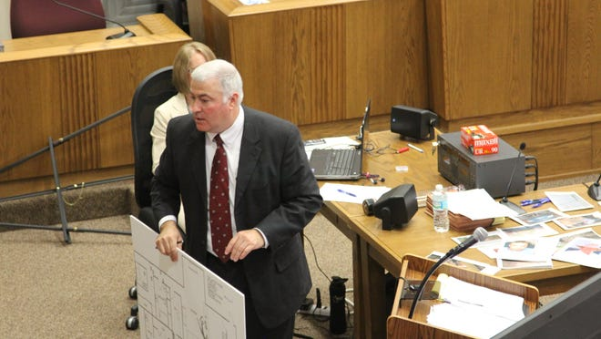 Assistant State Attorney Eddie Evans on Friday shows a Wakulla County jury a floor plan of the home where Andrew Michael Wilson killed John McKenzie and Patrick Pittman in May 2011.