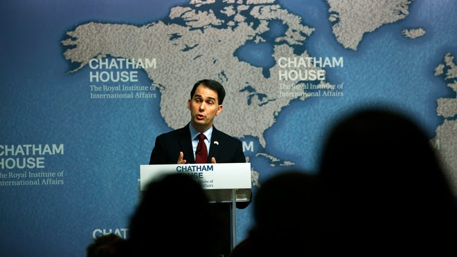Gov. Scott Walker delivers his speech at Chatham House in central London on Feb. 11.