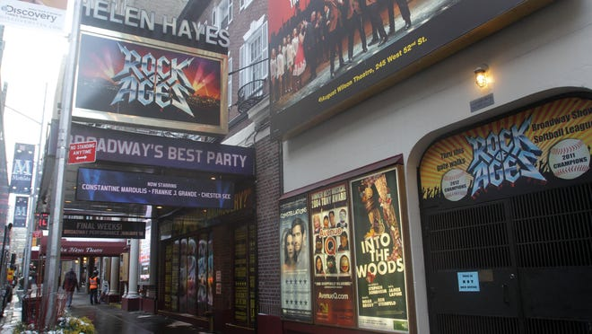 """""""Rock of Ages"""" is closing Jan. 18, ushering in the sale of the 102-year-old theater, named for longtime Rockland resident Helen Hayes, known as """"The First Lady of the American Theater"""" in Manhattan Jan. 9, 2015."""