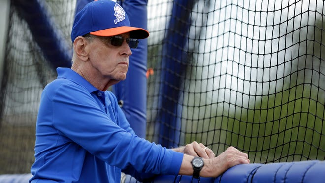 In this Feb. 22, 2014 photo, New York Mets owner Fred Wilpon watches his team during spring training baseball practice in Port St. Lucie, Fla. Mets owner Fred Wilpon addressed the team in a closed-door meeting Monday morning, March 30, 2015.