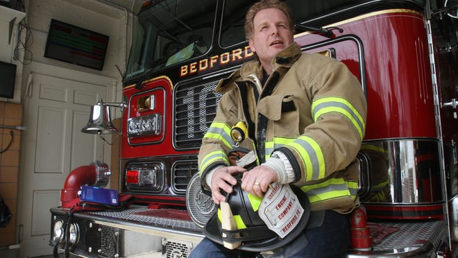 'I love the traditions,' Bedford volunteer firefighter Peter Meineck says. 'I love the whole culture. It's a fun challenge.'