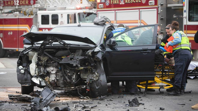 Emergency crews were on the scene of a crash involving a black SUV and a white Cadillac at the intersection of Airport Road and Del. 273 in New Castle Monday afternoon.