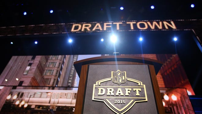 A general view of the podium on stage before the 2015 NFL Draft at the Auditorium Theatre of Roosevelt University.