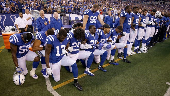 Some Colts players knelt during the national anthem before a game at Lucas Oil Stadium  on Sept. 24, 2017.