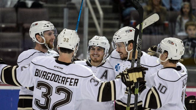 The Hershey Bears, led by Chris Bourque (center), will open their 2016-17 regular season on Friday, Oct. 14, at Rochester.