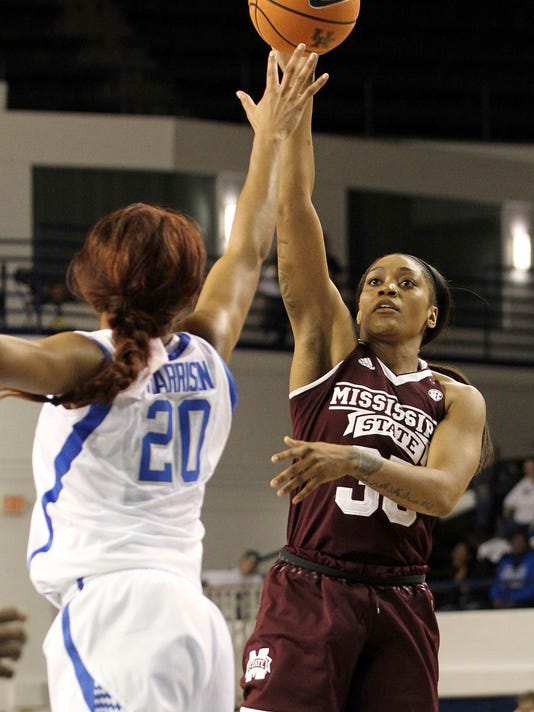 Mississippi State's Victoria Vivians, right, shoots while defended by Kentucky's Dorie Harrison (20) during the fourth quarter of an NCAA college basketball game, Sunday, Feb. 25, 2018, in Lexington, Ky. Mississippi State won 85-63. (AP Photo/James Crisp)
