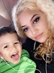 Sofia Diaz-Piceno with her son.