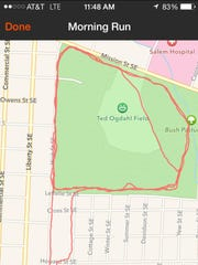 This map shows of Ron Jaecks' running route through Bush's Pasture Park. He was attacked near the baseball field.
