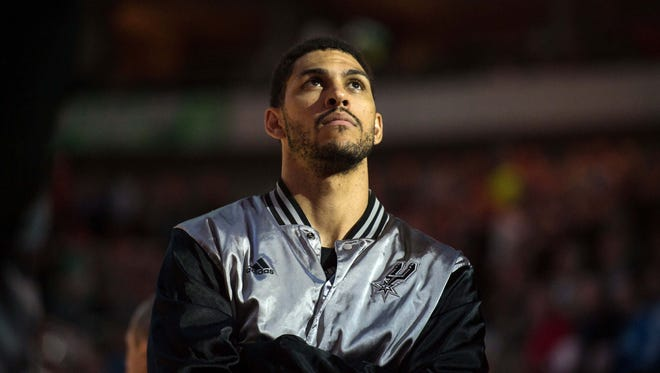 San Antonio Spurs forward Jeff Ayres (11) before the game against the Dallas Mavericks at the American Airlines Center last season.