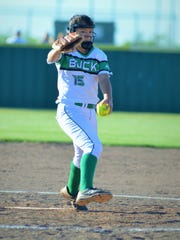 Breckenridge southpaw Alyssa Reyes first a first-inning pitch in Friday's 15-9 win over Peaster.