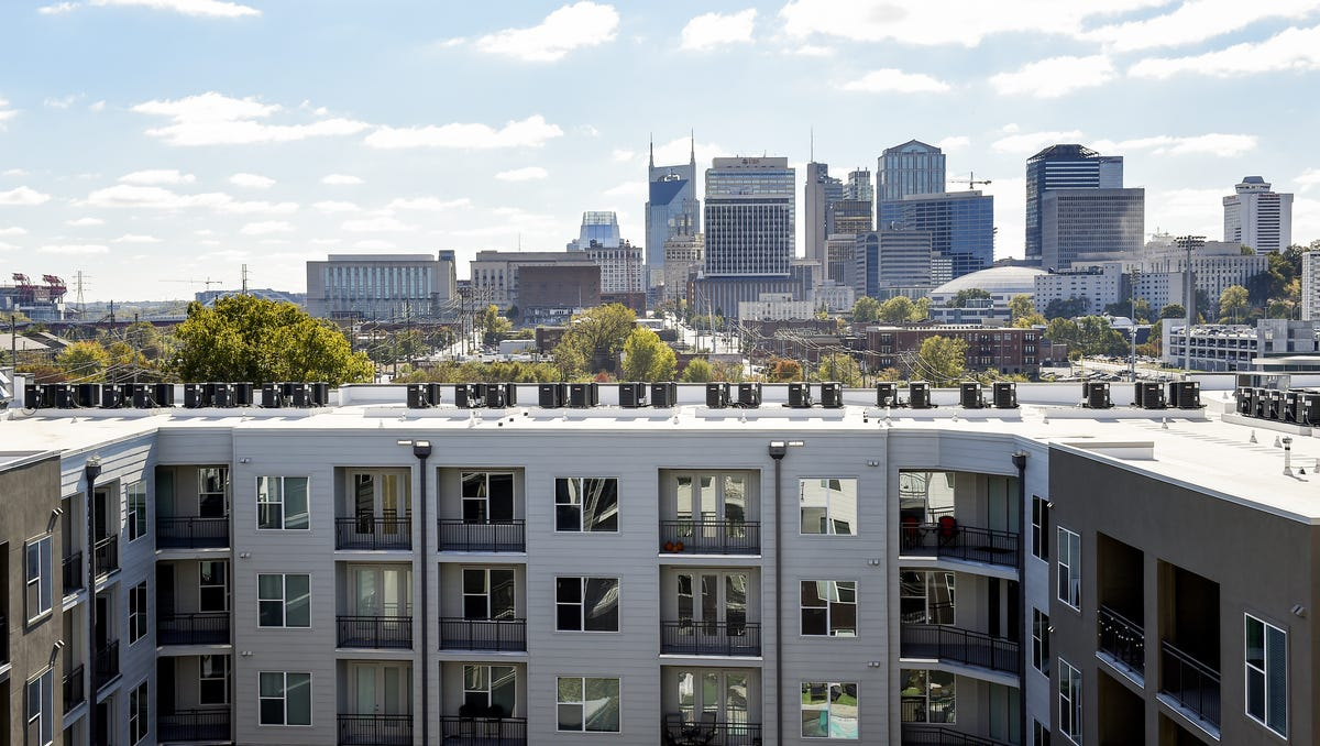 Germantown: A view of the Nashville skyline is what tenants see from the roof at the Broadstone Germantown apartment building here Nov. 9, 2016.