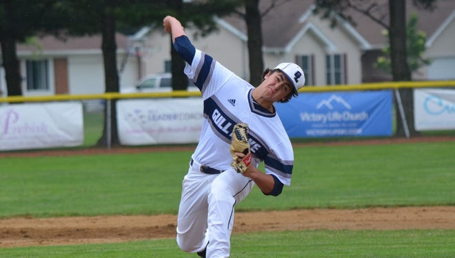 Gull Lake's Luke Scoles throws home during this regional semifinal game on Sunday.