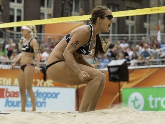 Former Florida Gulf Coast University volleyball standout Brooke (Youngquist) Sweat is in contention for a spot on the 2016 U.S. Olympic Beach Volleyball team with playing partner Laura Fendrick. (Photo courtesy FIVB)