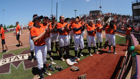 Auburn players celebrate a 6-4 win over Alabama in the SEC Tournament quarterfinals on May 13, 2016. Auburn went on to defeat No. 1 Florida in the semifinals to advance to back-to-back championship games.