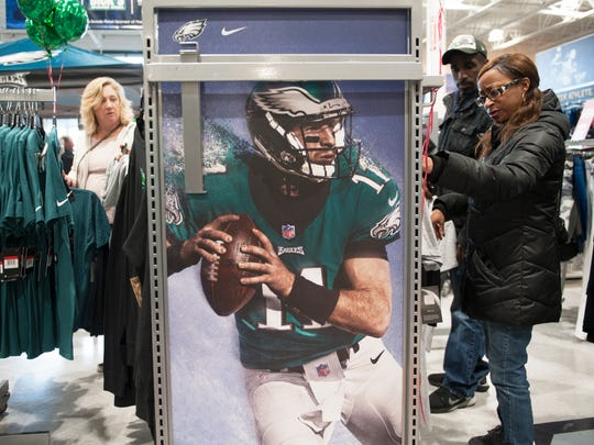 Fans shop for Philadelphia Eagles gear at Dick's Sporting Goods in Mount Laurel on Monday morning after the Eagles won the NFC Championship game Sunday night.