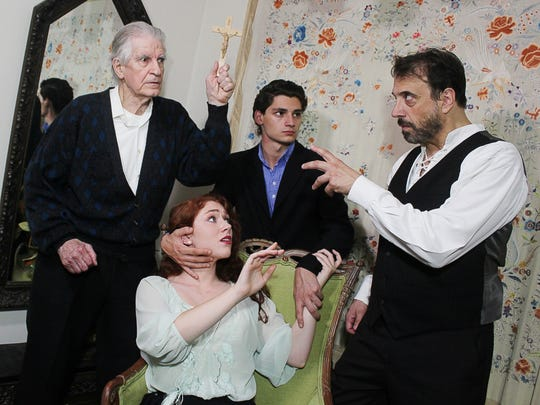 "From left, Bob Finley as Professor Abraham Van Helsing, Amber Gance as Wilhelmina Murray, Ciano Briga as Jonathan Harker and Mark Roth as Count Dracula star in the in the Southern Tier Actors Read production of ""The Passion of Dracula."""