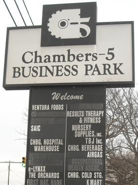 A warehouse in Chambers-5 Business Park is being sold.