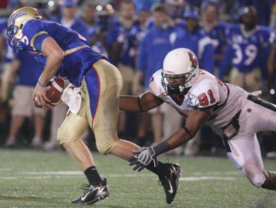 Former Ball State football player Robert Eddins raches
