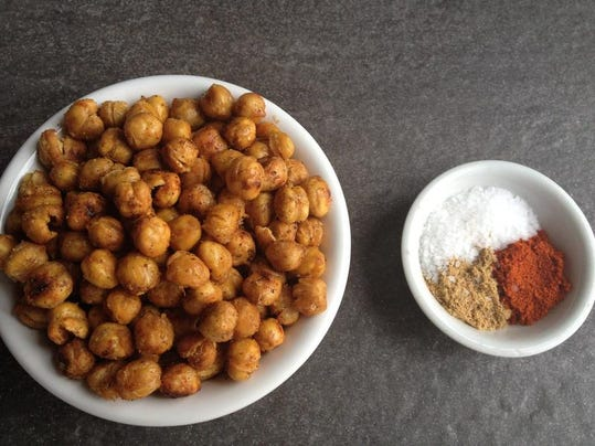 Roasted Spicy Chickpeas are a terrific low-calorie, nutrient-dense snack with lots of fiber.