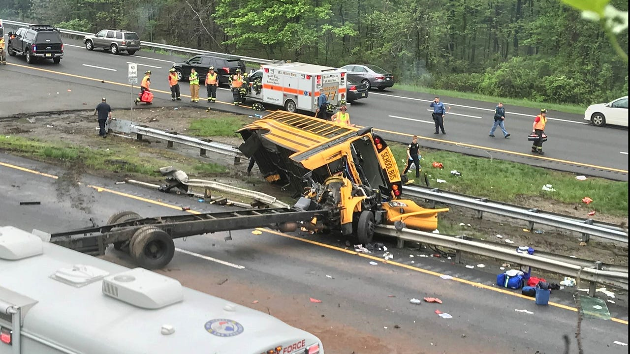 A Paramus school bus crashed on Route 80 in Mount Olive, killing two and injuring others. The bus appeared mangled and the incident shut down the Interstate.