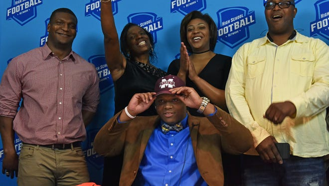 Callaway senior Aaron Odom makes his announcement to play football at Mississippi State University on National Signing Day.