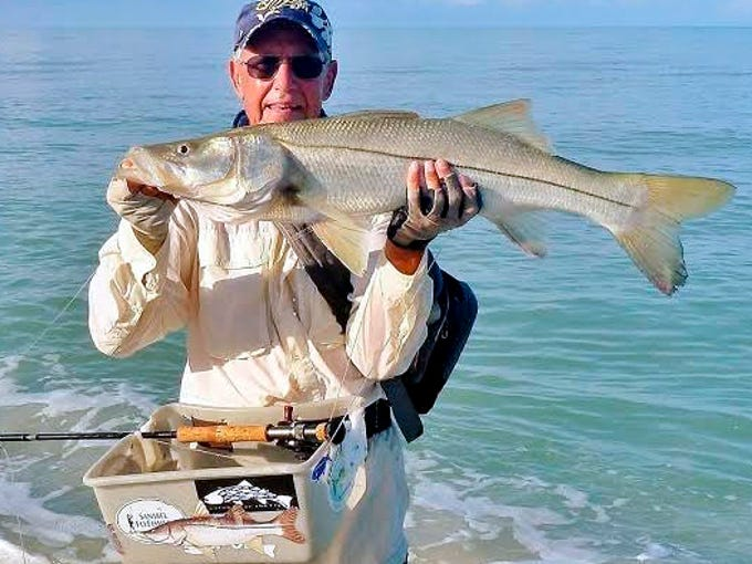 Rod McLeod of Braintree, Mass., with a 35-inch snook