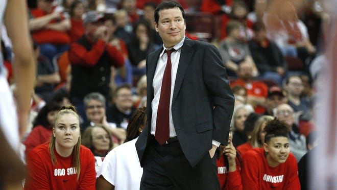 Ohio State women's basketball head coach Kevin McGuff is seen during a game between the Buckeyes and Penn State on Sunday, January 12, 2020, at Value City Arena.