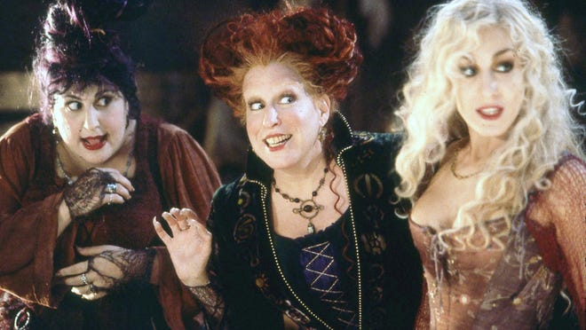 """Kathy Najimy, from left, Bette Midler and Sarah Jessica Parker star in Walt Disney Pictures' 1993 comedy """"Hocus Pocus."""""""