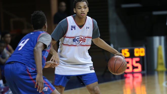 CHARLOTTESVILLE, VA - JUNE, 19: Eric Davis looking to attack during the National Basketball Players Association Top 100 Camp at the University of Virginia, in Charlottesville Virginia.(Photo by Kelly Kline)