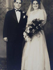 "Dominic Christopher (left) and Frances ""Babe"" Christopher, on their wedding day in 1942."