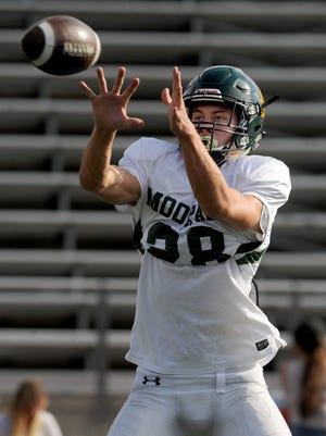 Moorpark High tight end Bentley Hanshaw has become a reliable target near the goal line, scoring five touchdowns in three games.