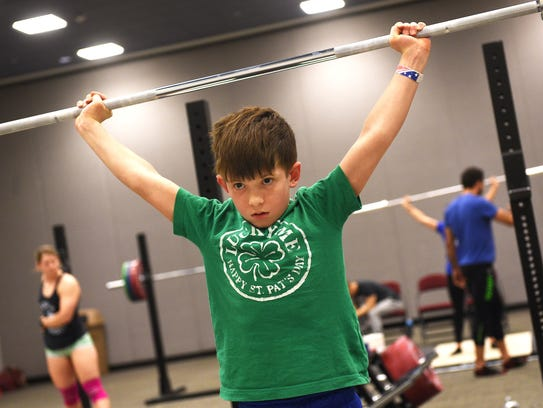 Cailen Barclay practices his technique before competing