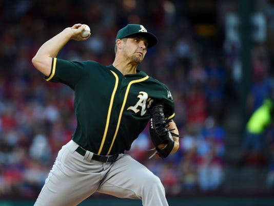 Oakland Athletics starting pitcher Kendall Graveman throws to the Texas Rangers during the first inning of a baseball game, Saturday, April 8, 2017, in Arlington, Texas. (AP Photo/Jeffrey McWhorter)