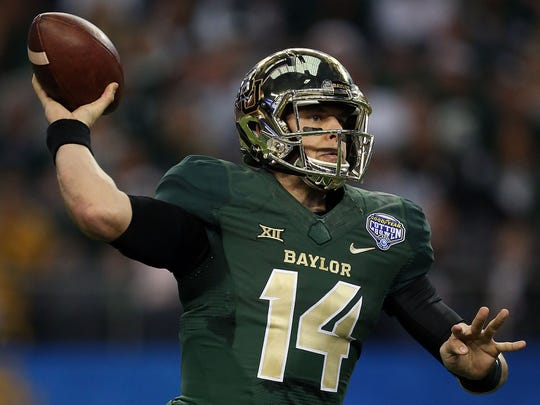 Bryce Petty looks to pass during the Cotton Bowl.