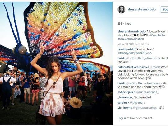 Victoria's Secret model Alessandra Ambrosio posted an Instagram from last year's Coachella festival.