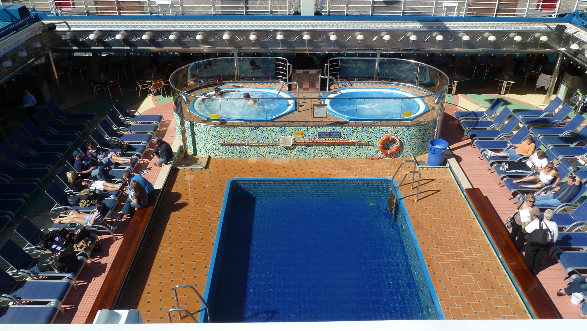 From aft Deck 11, there is a nice view over the all-weather, Magrodome-topped Prometheus pool.