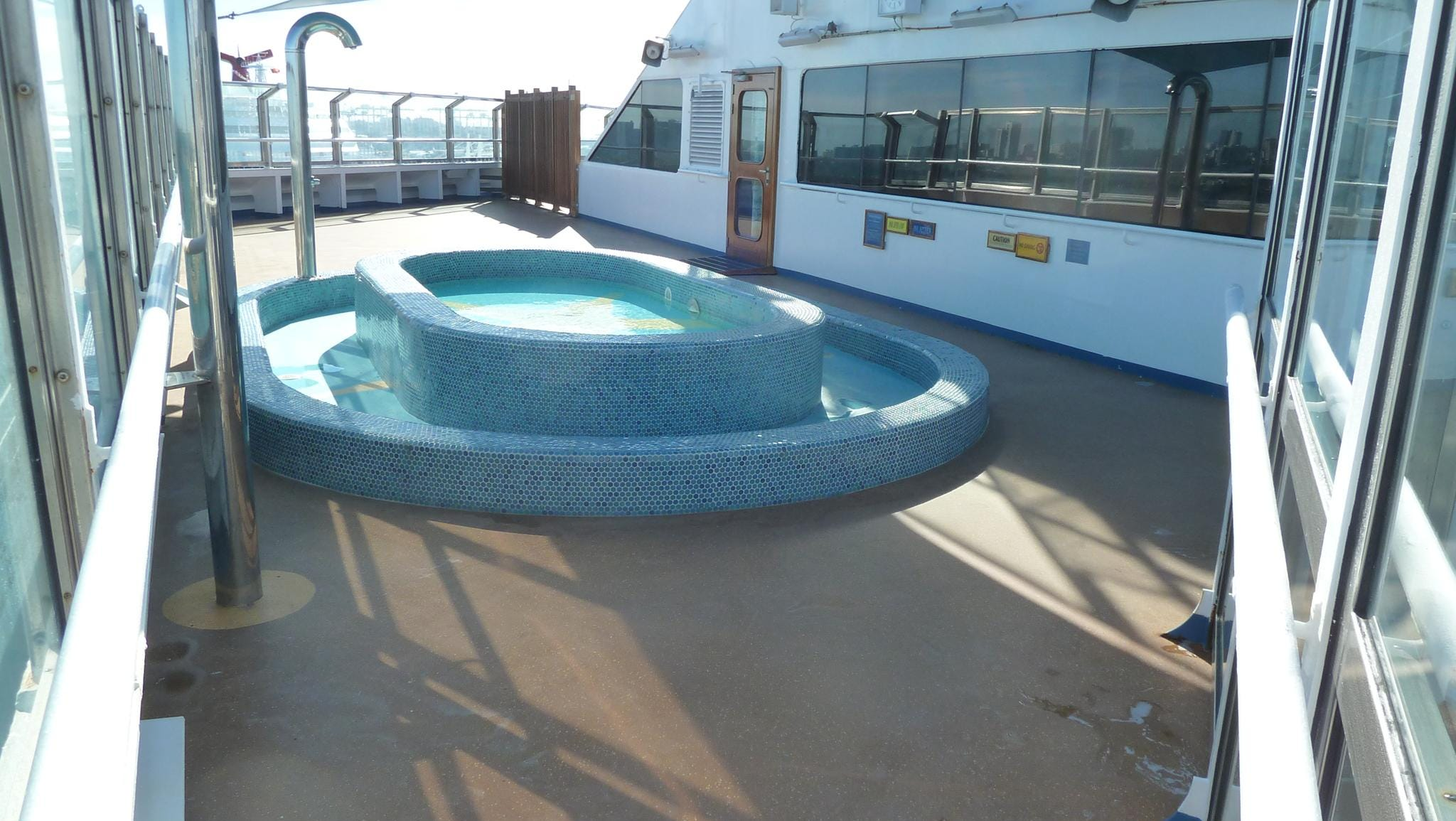 A glass-enclosed terrace on port Deck 12 has a children's paddling pool.