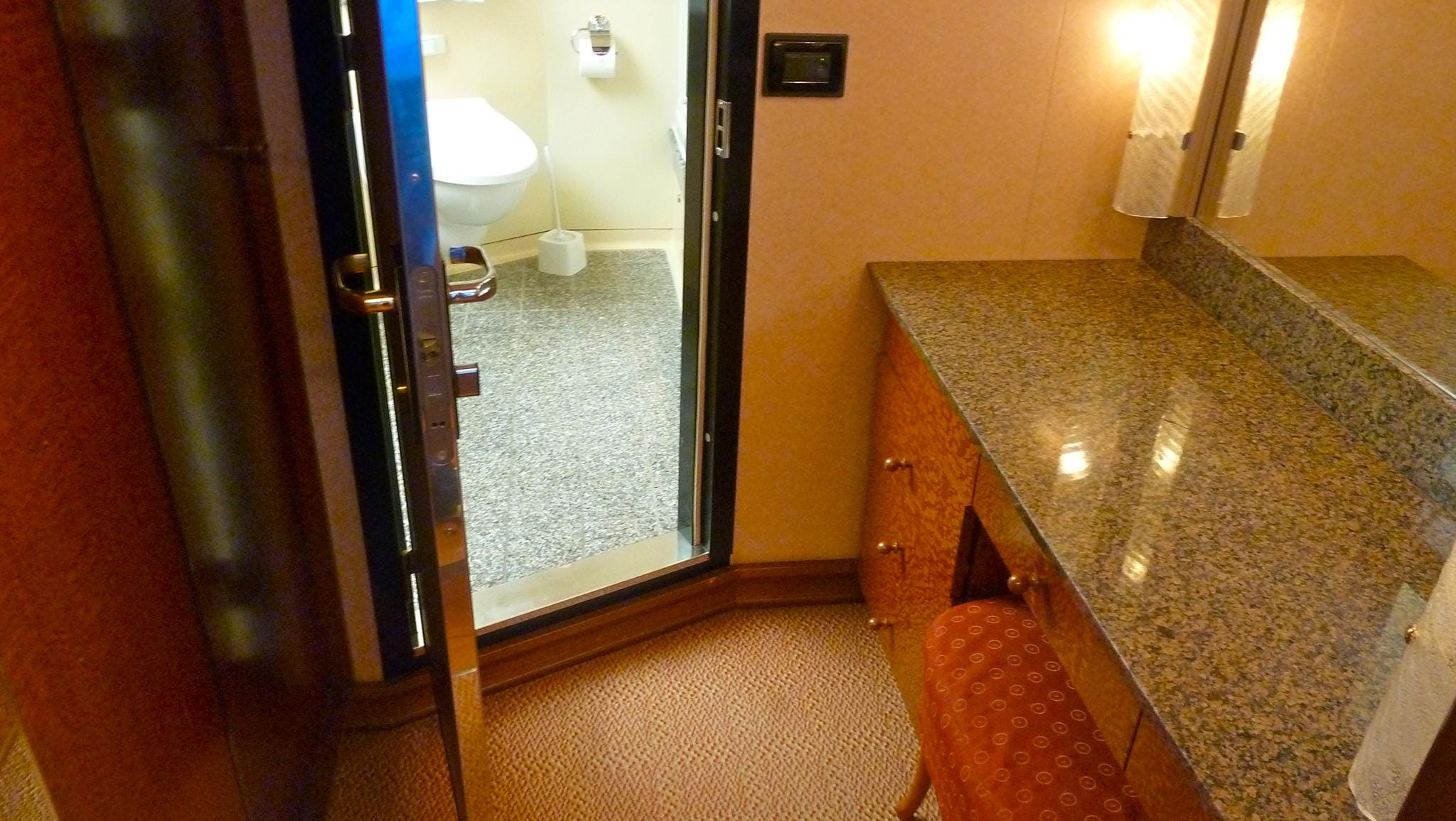 Ocean Suites have dressing areas in their walk-in closets.