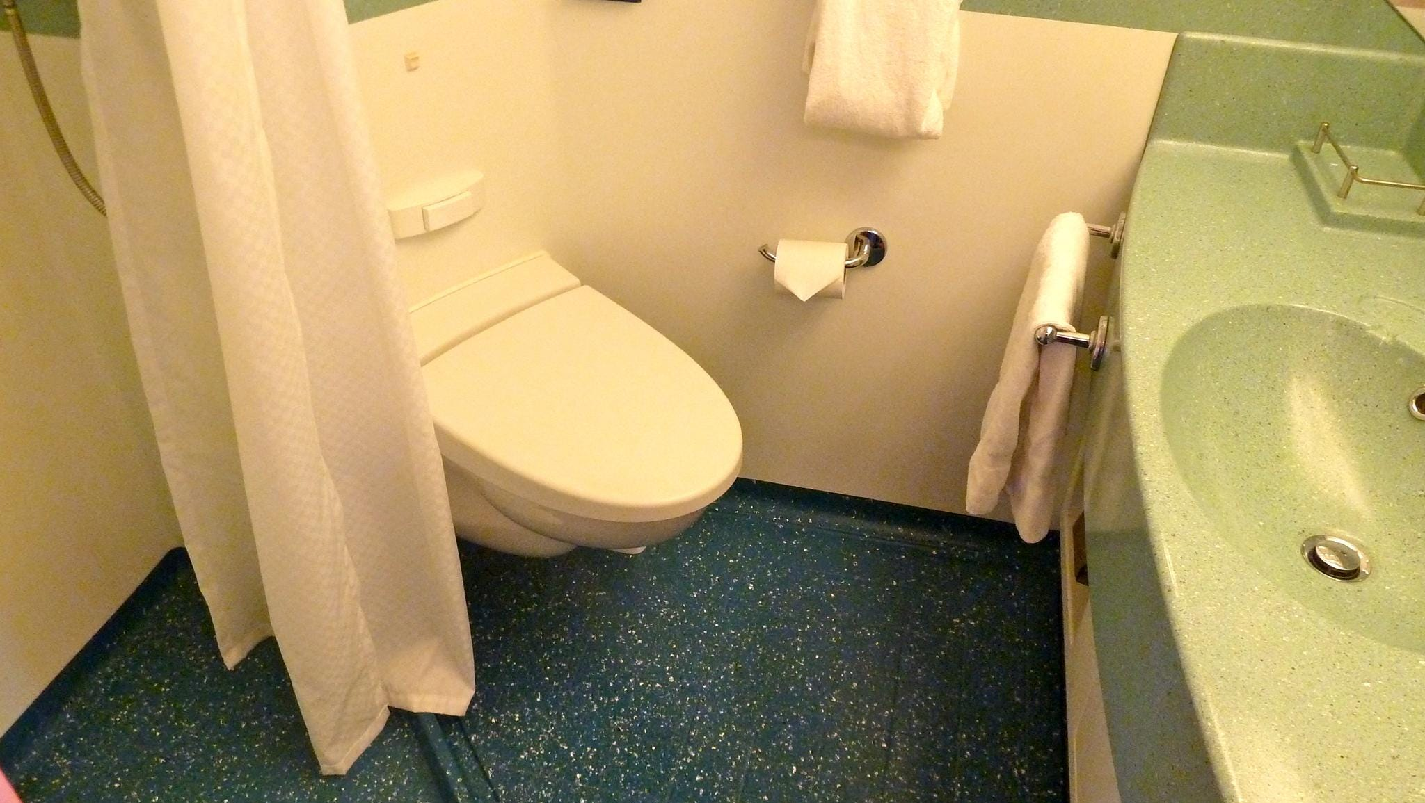Ocean View With Balcony, Ocean View and Inside staterooms all have modular bathrooms with shower, toilet and sink area.
