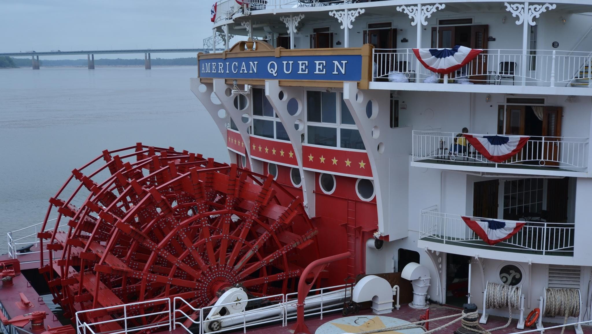 Built in 1995 at a cost of $60 million, the 418-foot-long American Queen is an authentic steamboat propelled by the large red paddle wheel on its back.