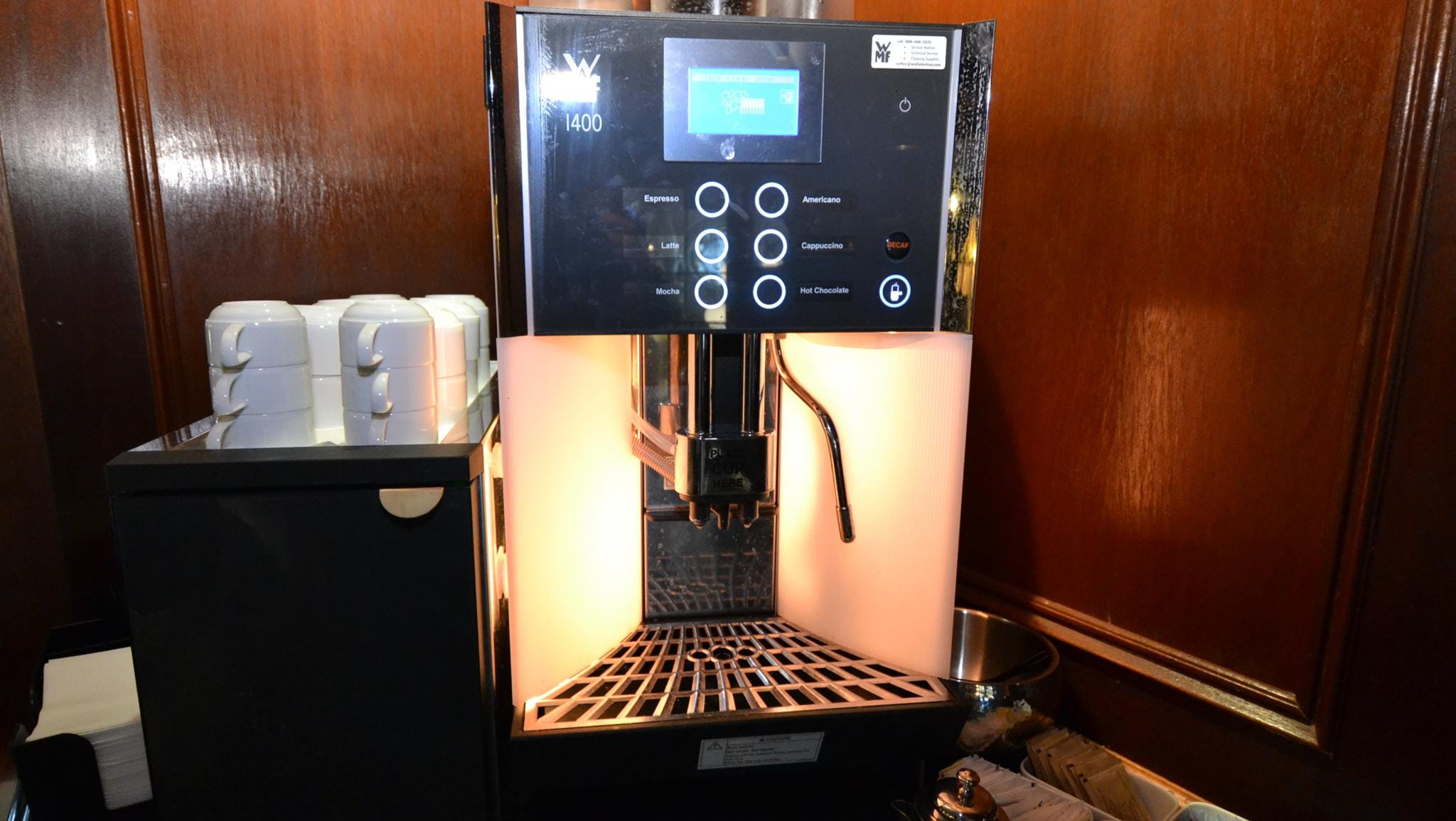 One of the few non-period objects in the Mark Twain Gallery is this self-serve coffee machine.