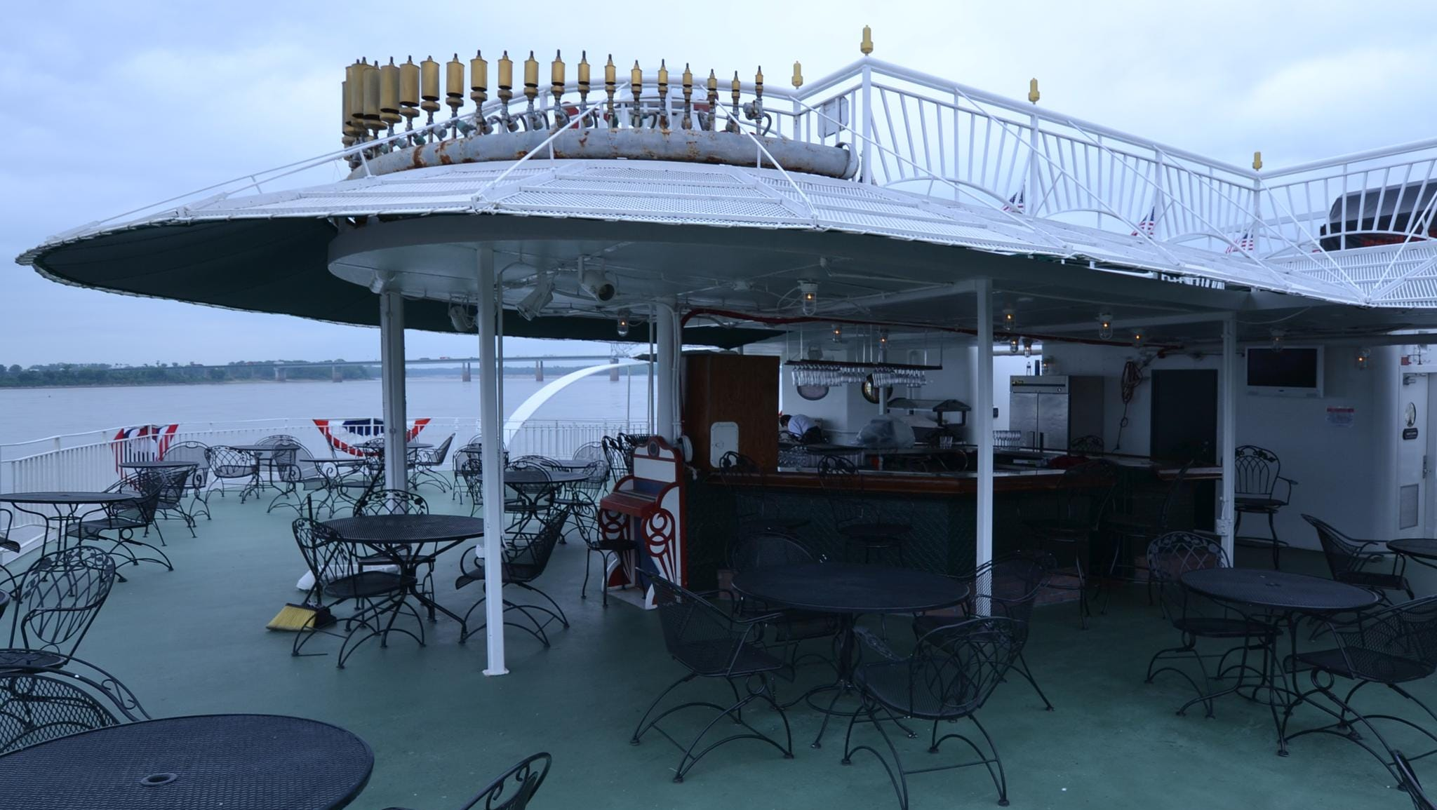 Located on one of the top decks at the back of the American Queen is the River Grill, an outdoor bar and food area.