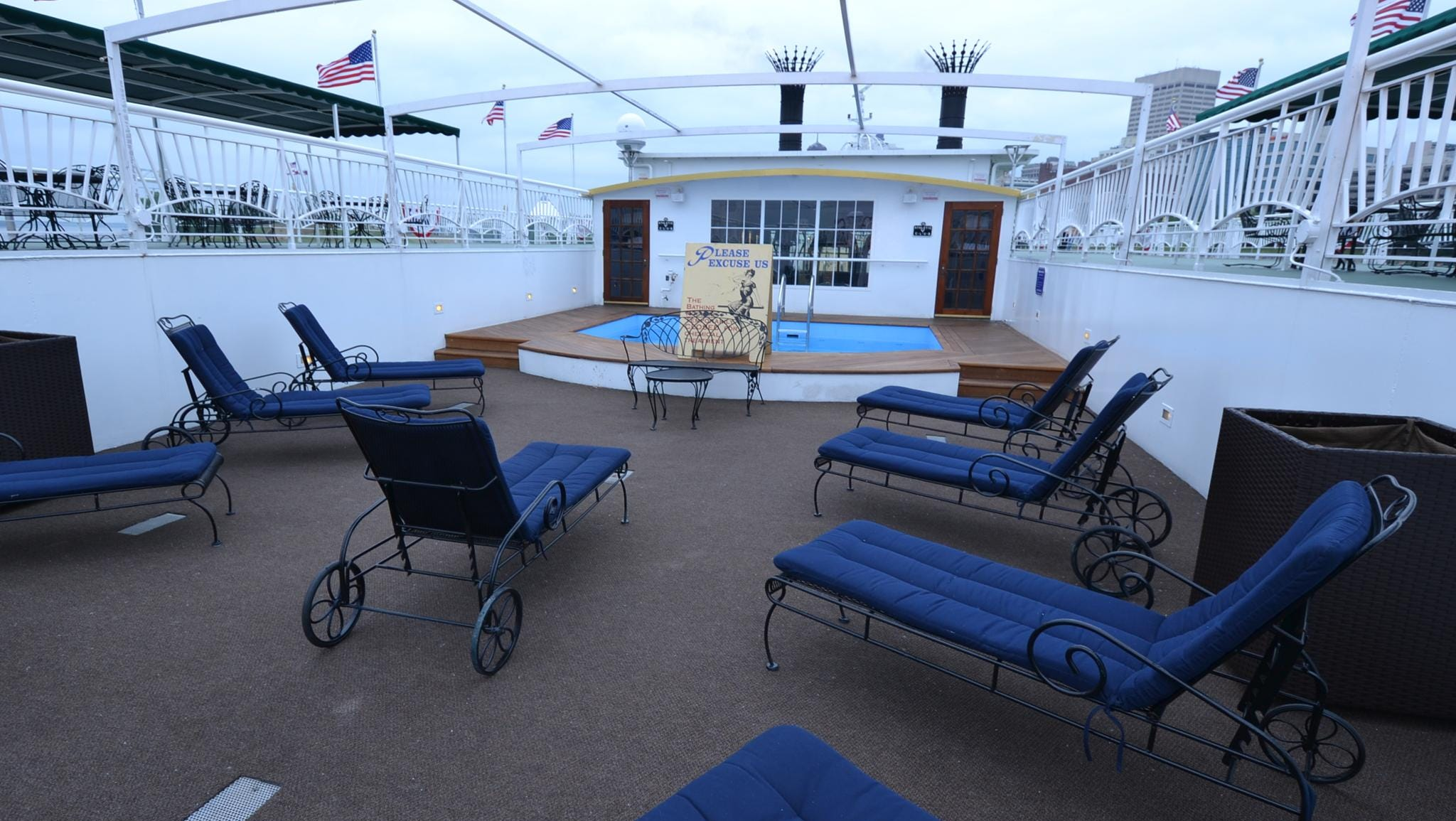 The American Queen features a small pool area, a rarity on river vessels.