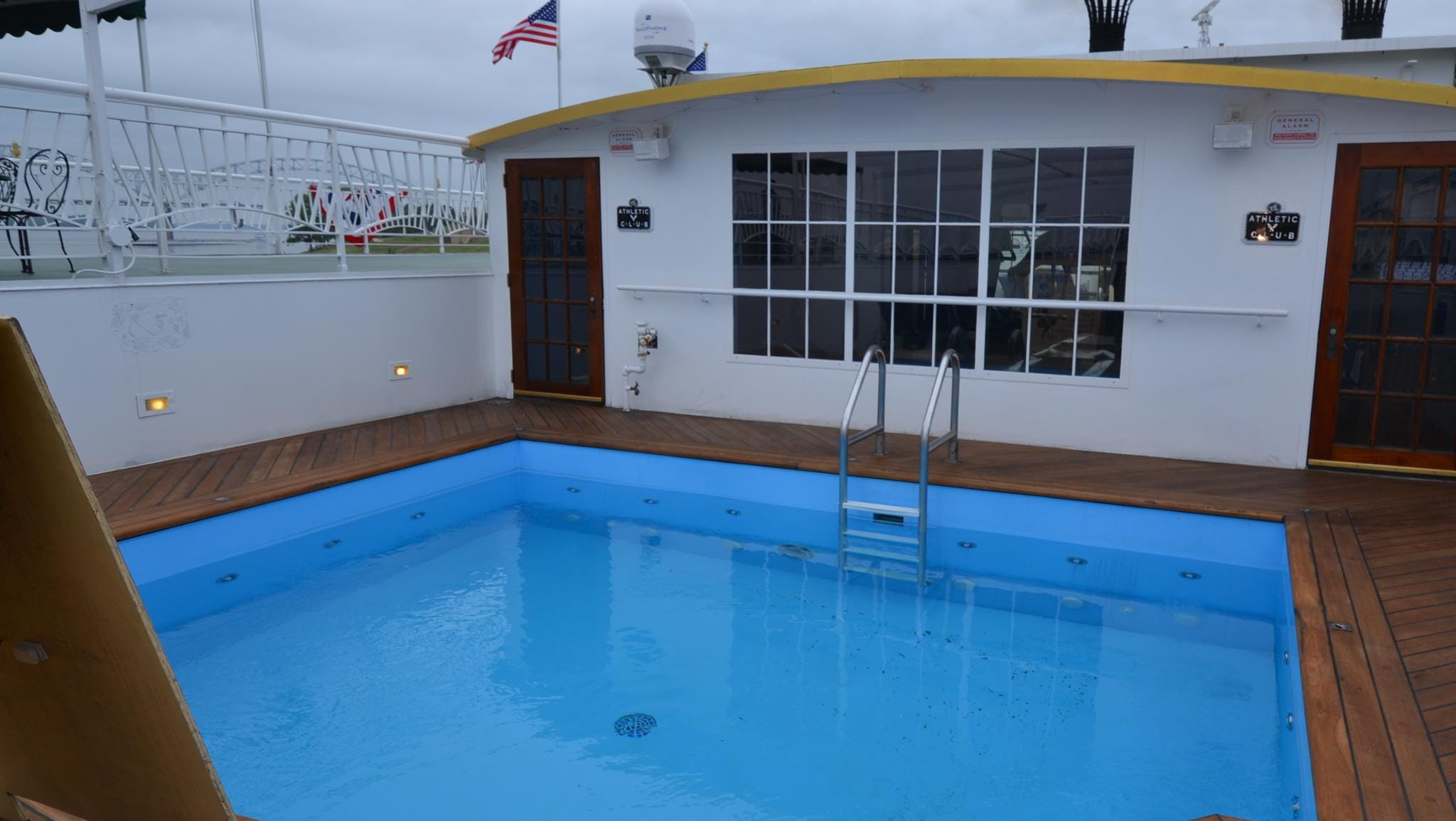 A close-up of the American Queen's pool, which is located on the Sun Deck, the highest of the vessel's six decks.