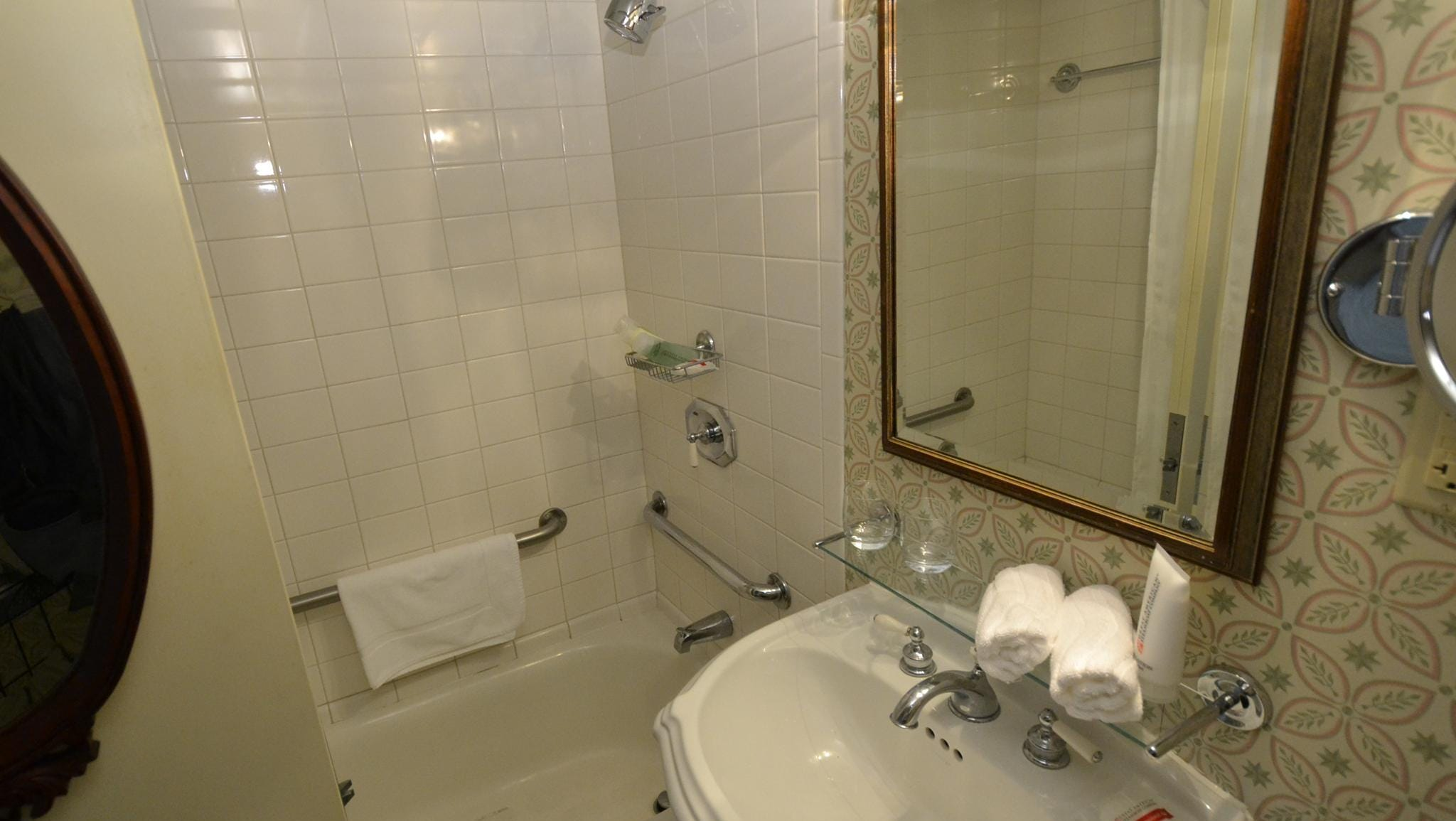 Bathrooms in the Deluxe Outside Stateroom with Veranda category offer a combination bathtub and shower.