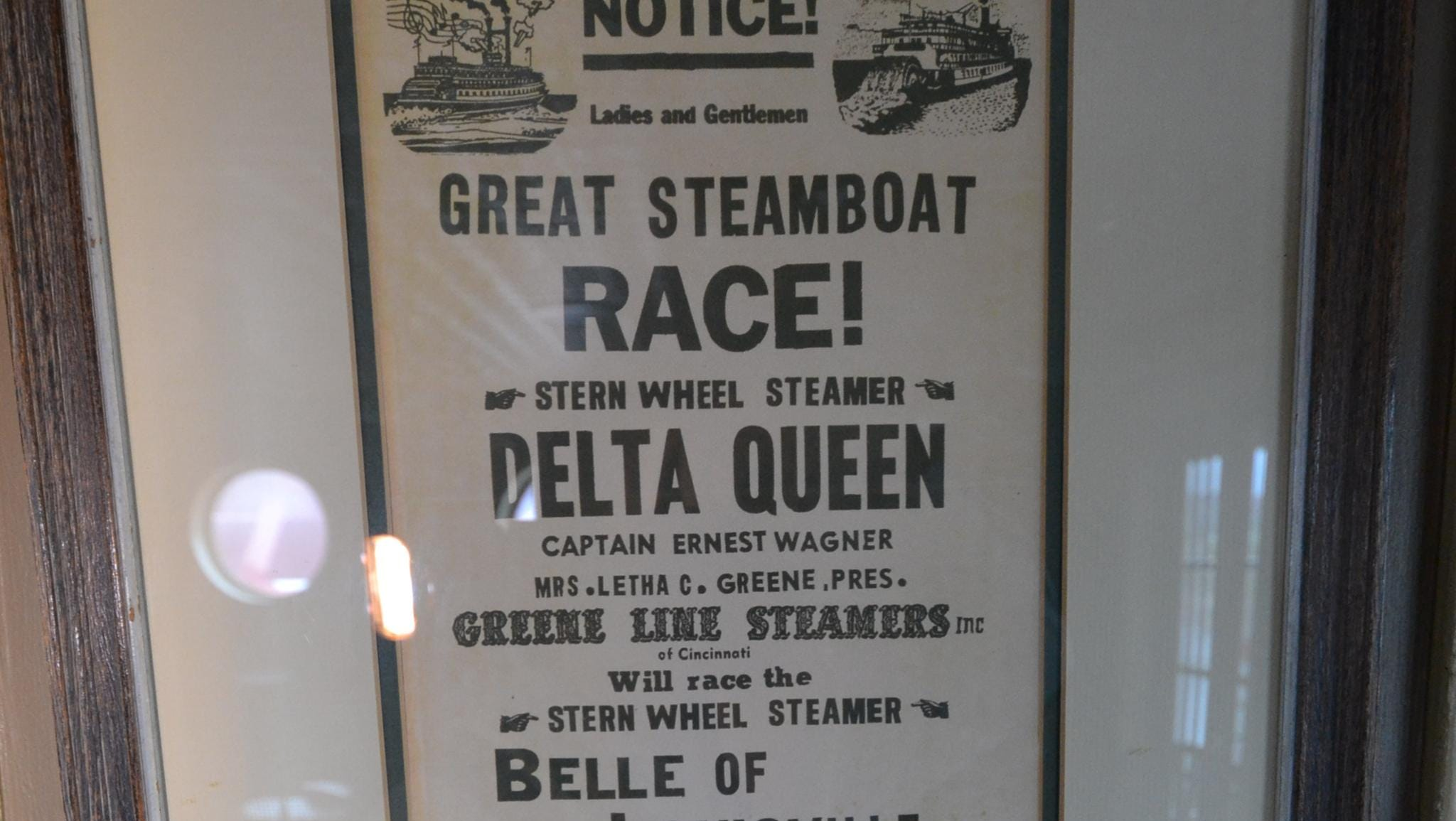 Among the historical items adorning the walls of the American Queen's interior are flyers from steamboat races that took place decades ago.