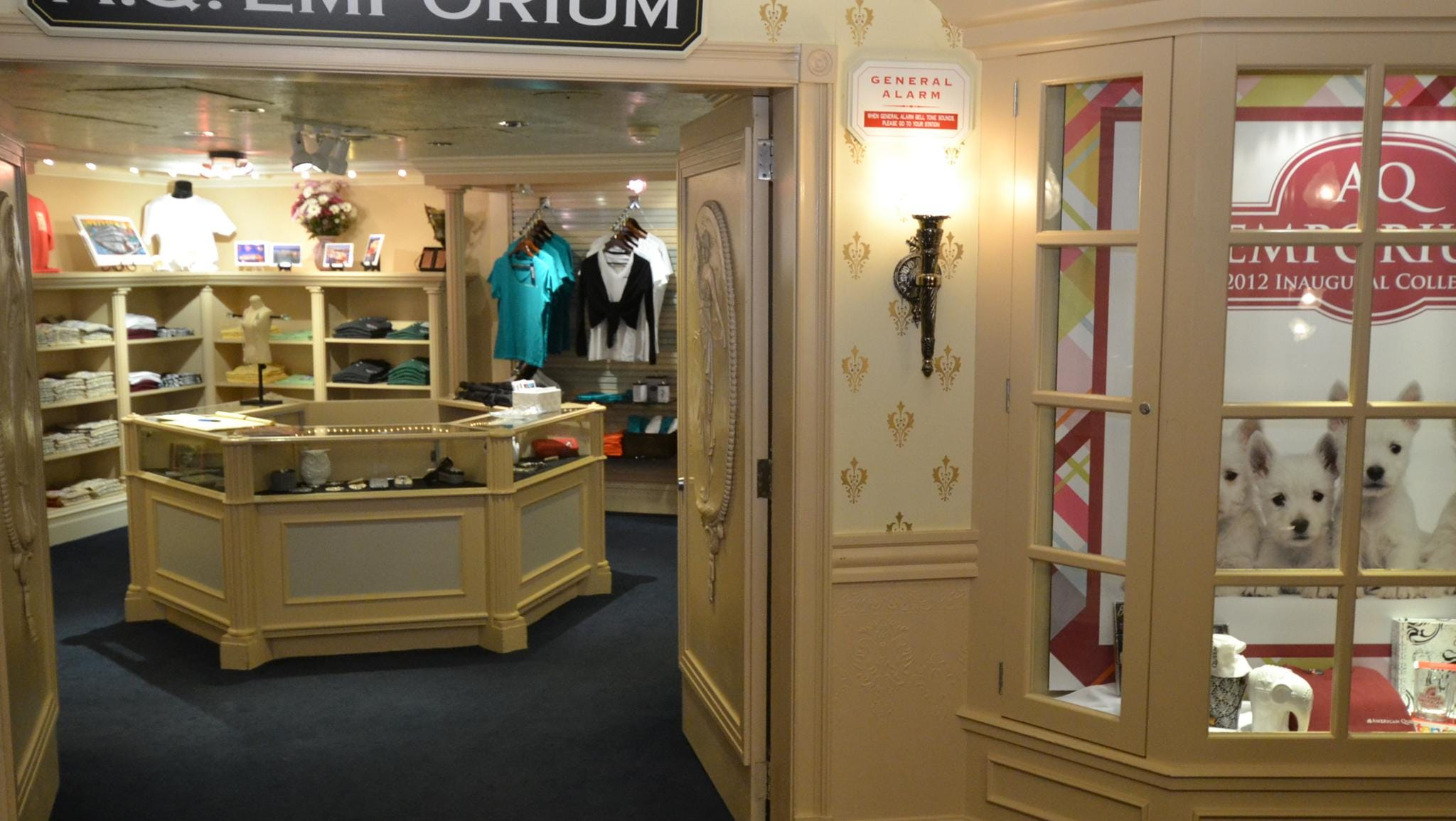 The vessel's A.Q. Emporium store sells American Queen memorabilia and clothing.